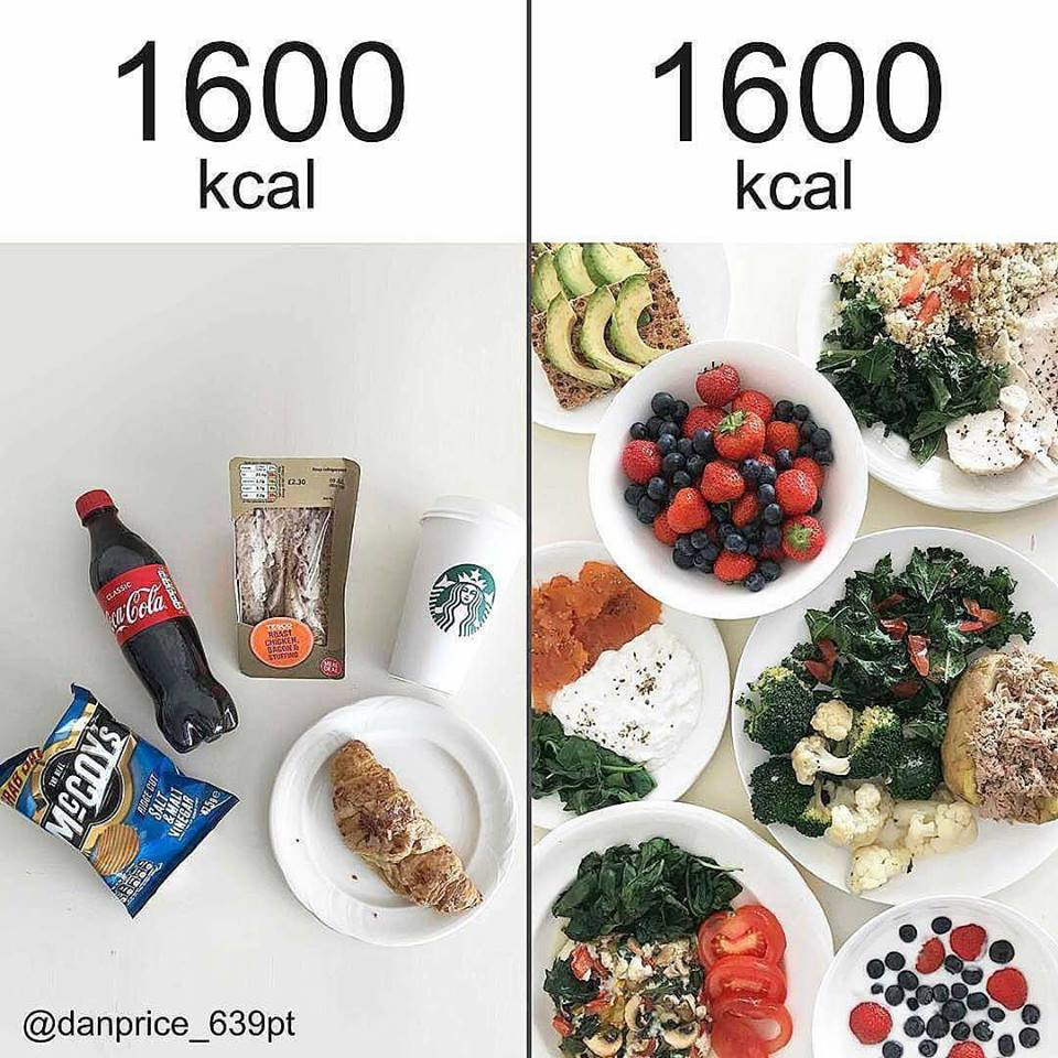 Exemple de calories dans un repas sain et un repas calorique